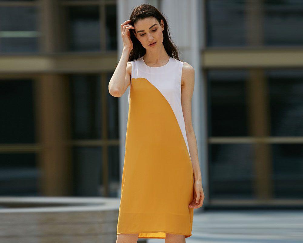 Casual Round Collar Sleeveless Color Block Straight Women Dress
