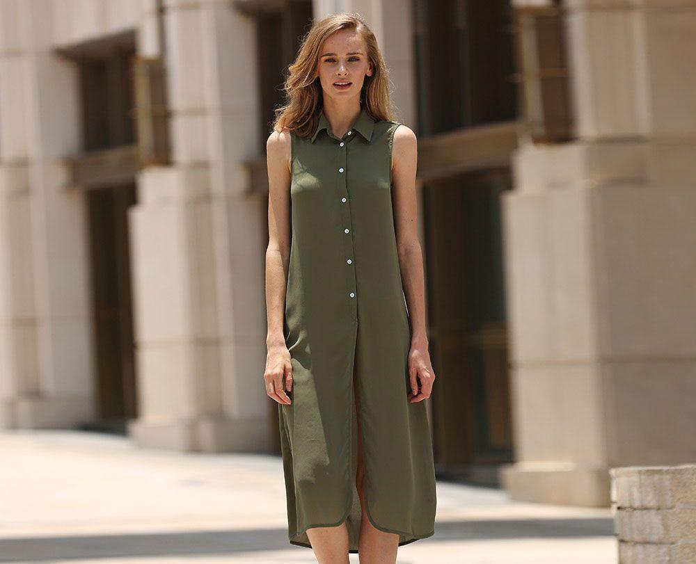 Trendy Turn Down Collar Button Design Women Blouse