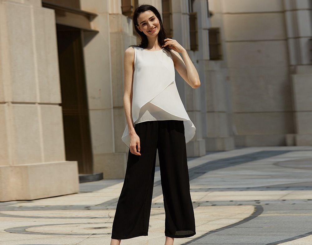Stylish Elastic Waist Straight Solid Color Chiffon Women Wide Leg Pants