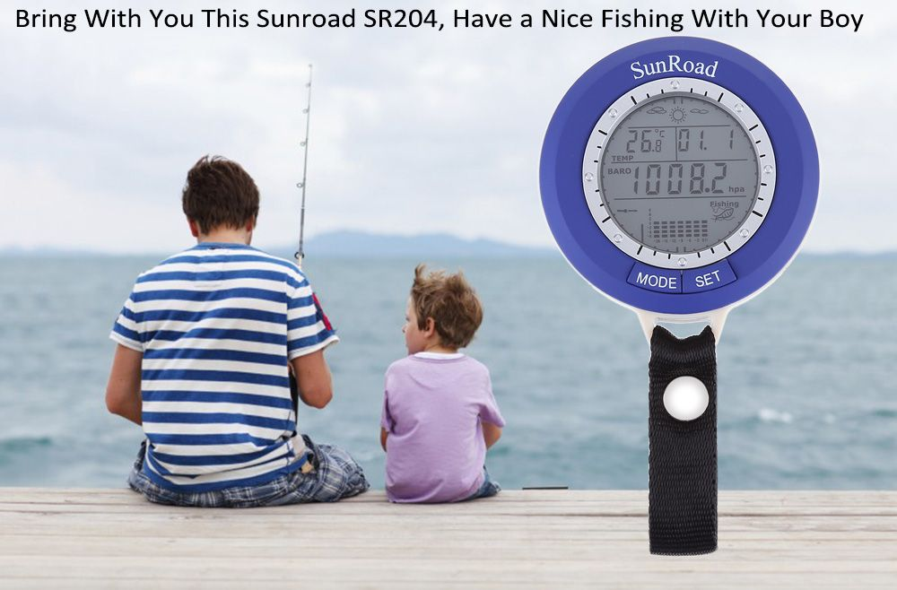 SUNROAD SR204 Multifunctional Digital Fishing Barometer Thermometer Altimeter Weather Forecast Countdown Timer