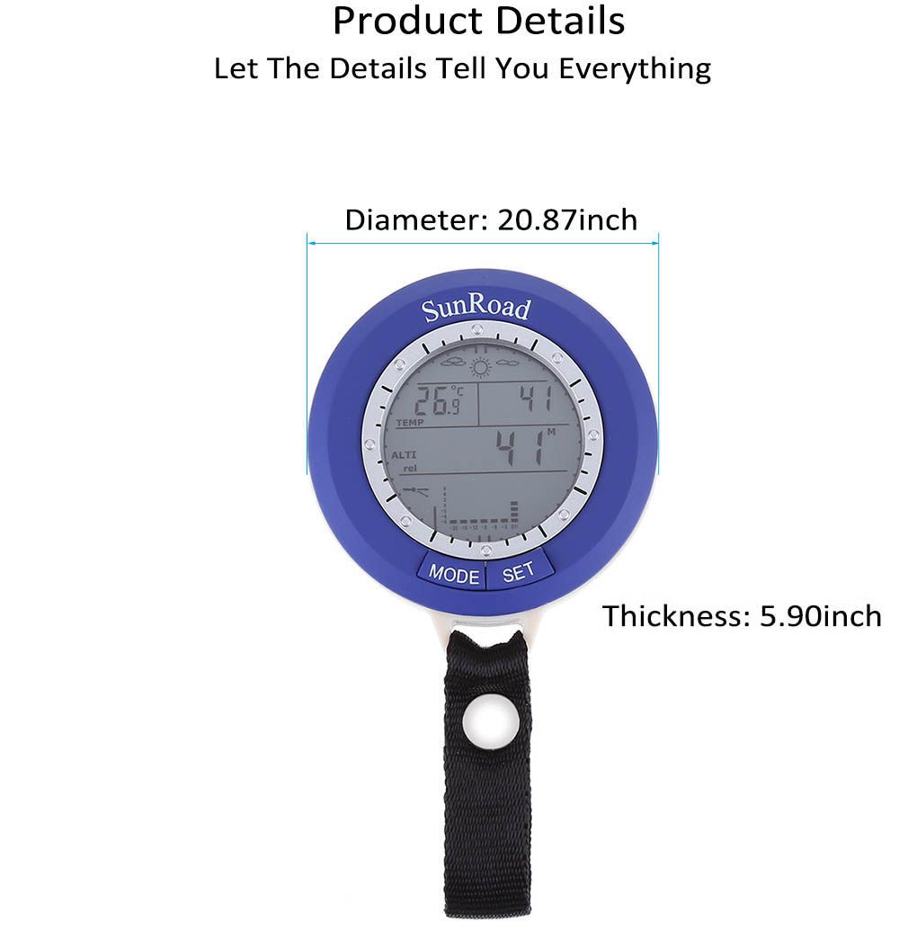 SUNROAD SR204 Multifunctional Digital Fishing Barometer Thermometer Altimeter Weather Forecast Countdown Timer