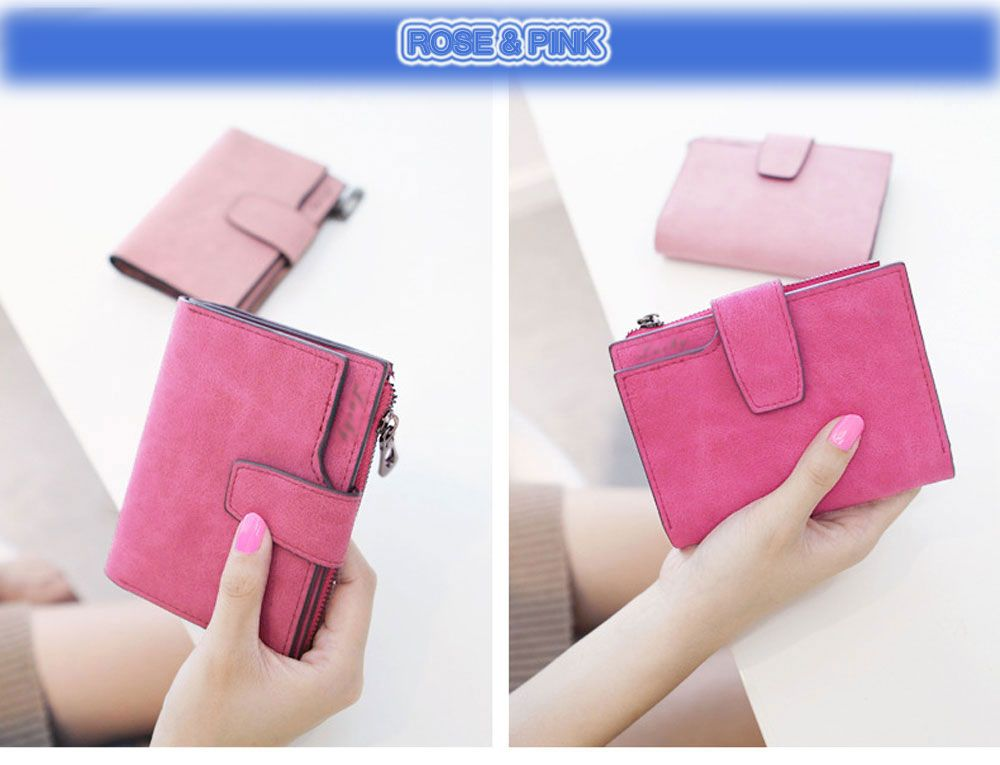 Guapabien Lady Solid Color Letter Snap Fastener Zipper Short Clutch Wallet