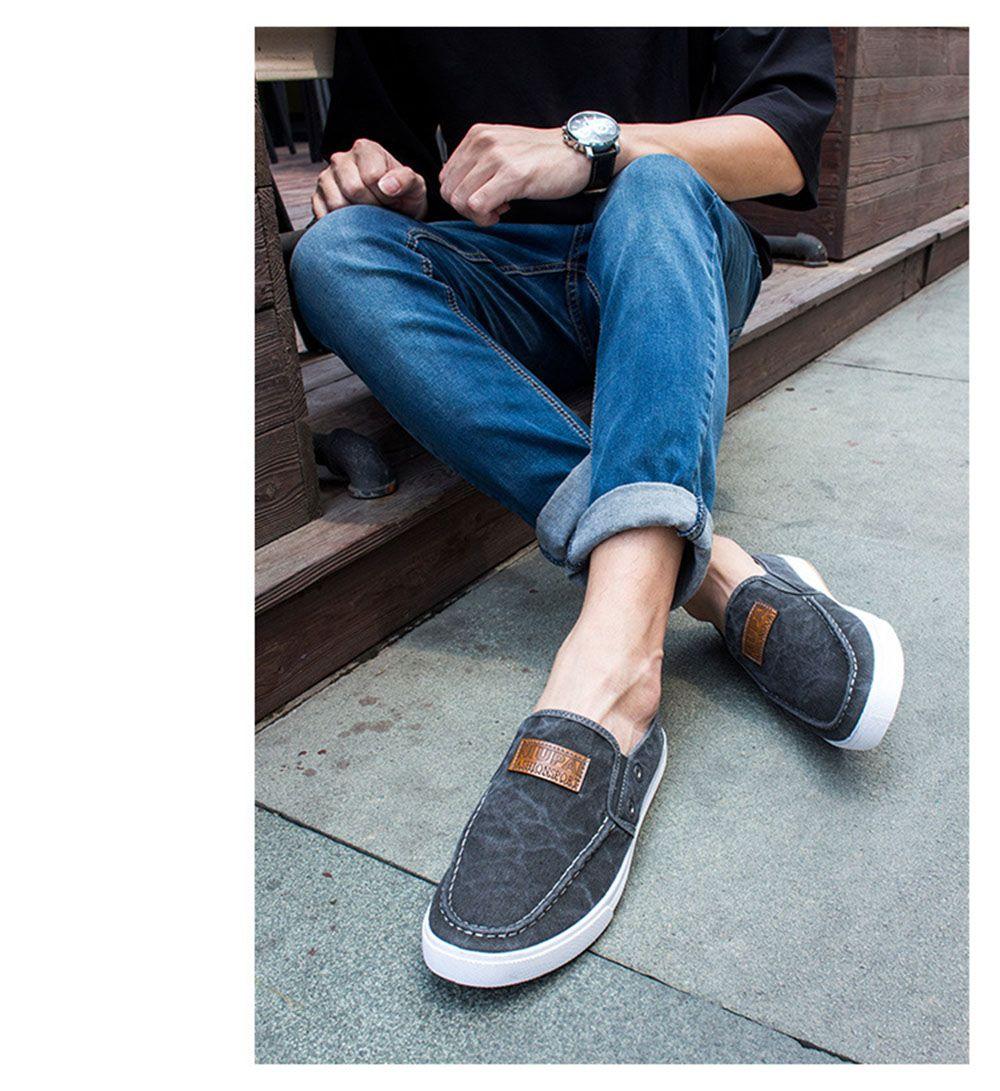 Casual Pure Color Slip On Denim Canvas Shoes for Men