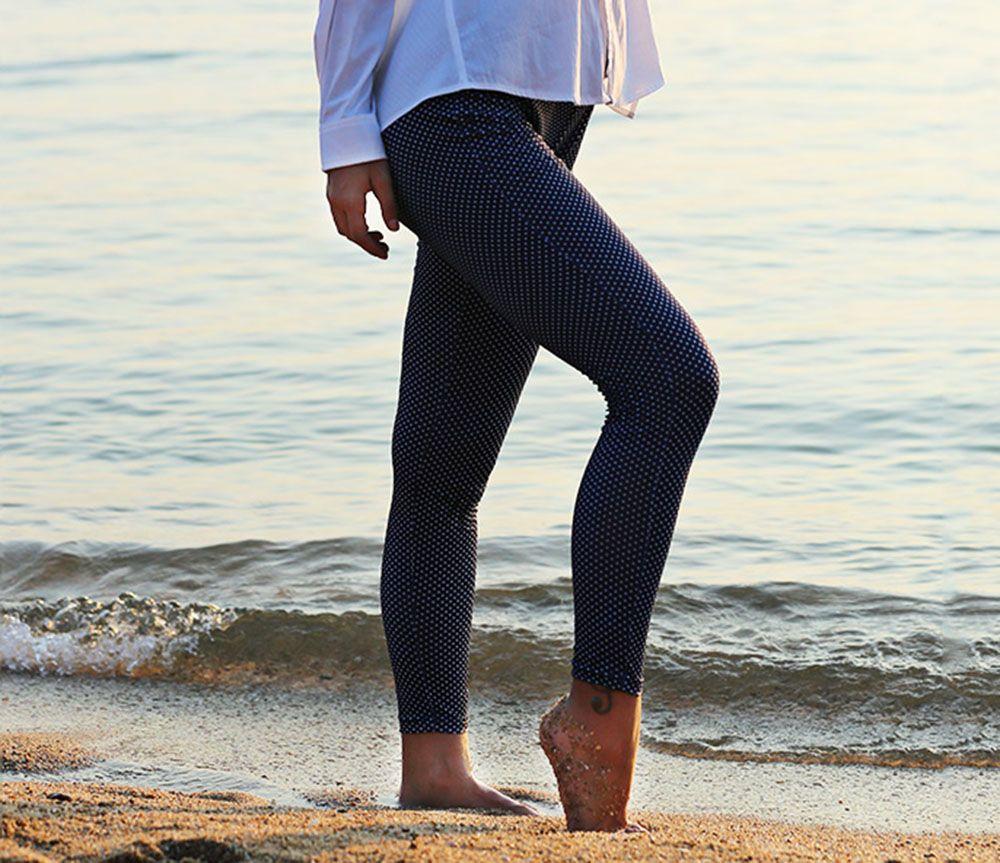 Stylish Elastic Waist Polka Dot Print Skinny Women Leggings