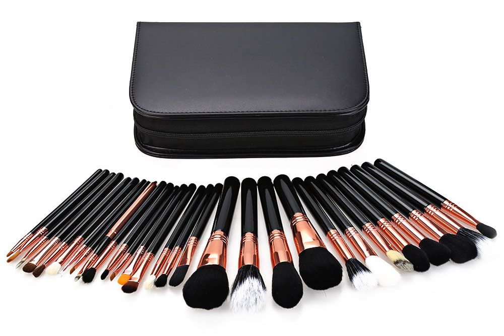 29pcs Animal Hair Professional Cosmetic Makeup Brushes Tool Set with Black Leather Cosmetic Case