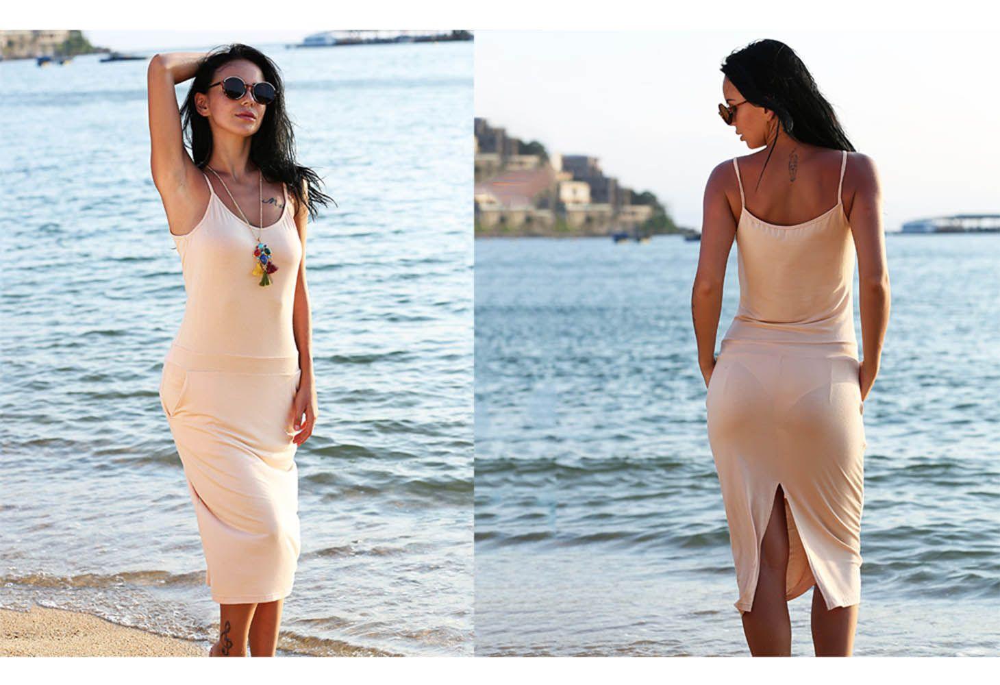 Brief Spaghetti Strap Pocket Pure Color Bodycon Women Split Dress