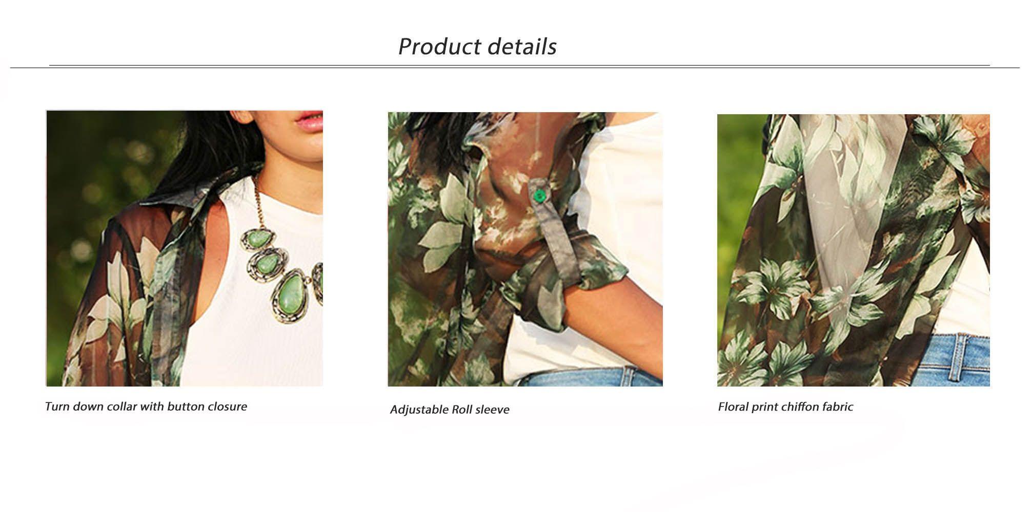 Vintage Turn Down Collar Floral Print See-Through Women Chiffon Blouse