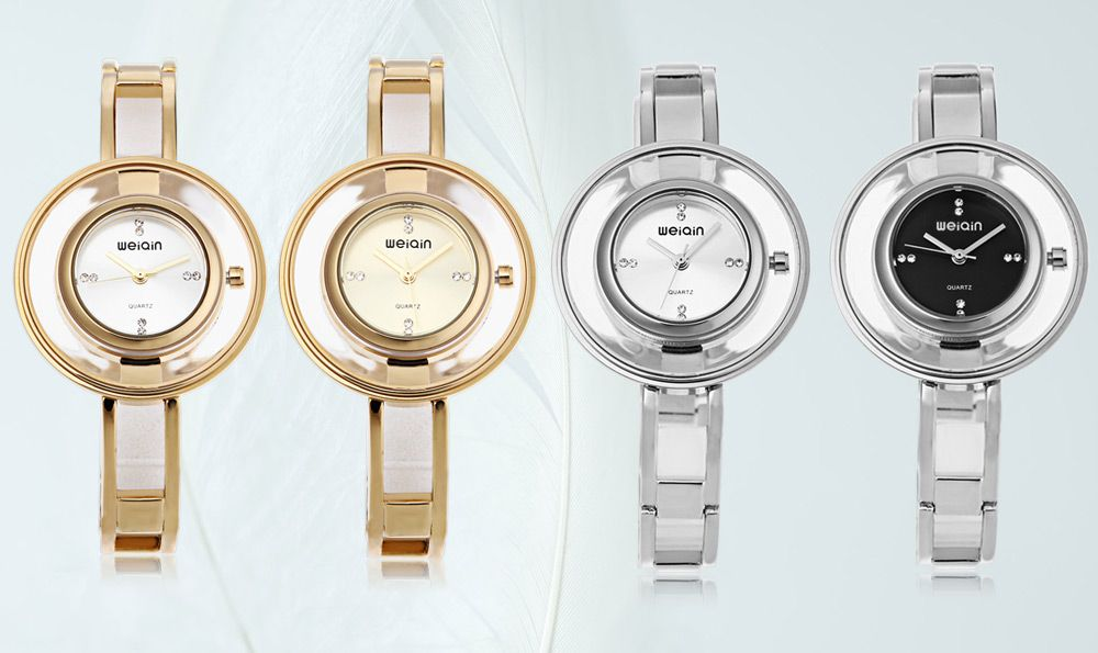 WeiQin W4823 Female Quartz Watch Artificial Diamond Dial Water Resistance Wristwatch