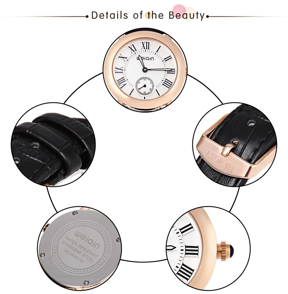 WeiQin W4813E Female Quartz Watch Luminous Pointer Working Sub-dial Genuine Leather Band Water Resistance Wristwatch