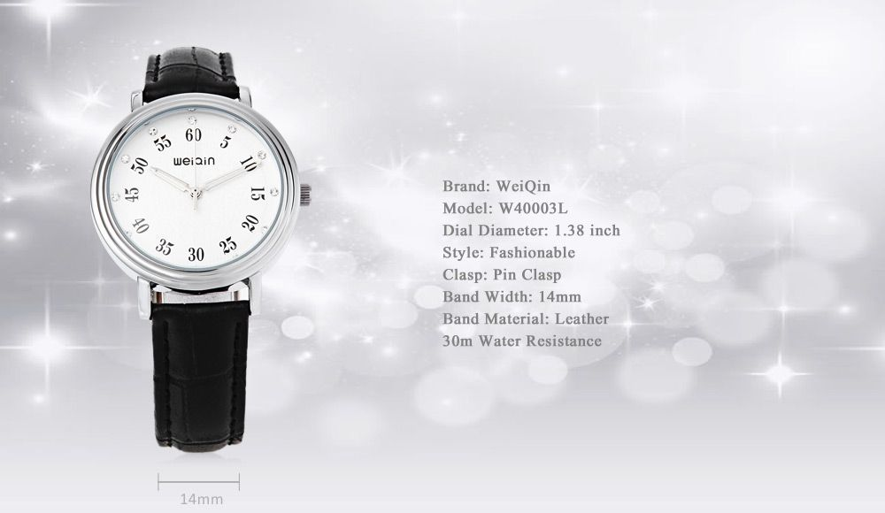 WeiQin W40003L Female Quartz Watch Artificial Diamond Dial Water Resistance Leather Band Wristwatch