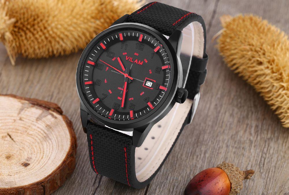 VILAM V2003G Men Quartz Watch Date Display Solid Arabic Numerals Scale Wristwatch
