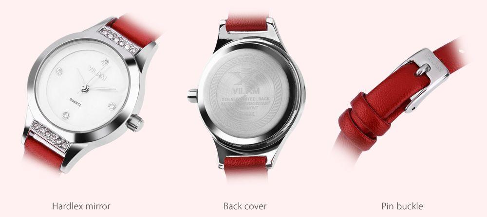 VILAM V1003L Female Quartz Watch Artificial Diamond Dial Slender Leather Strap Wristwatch