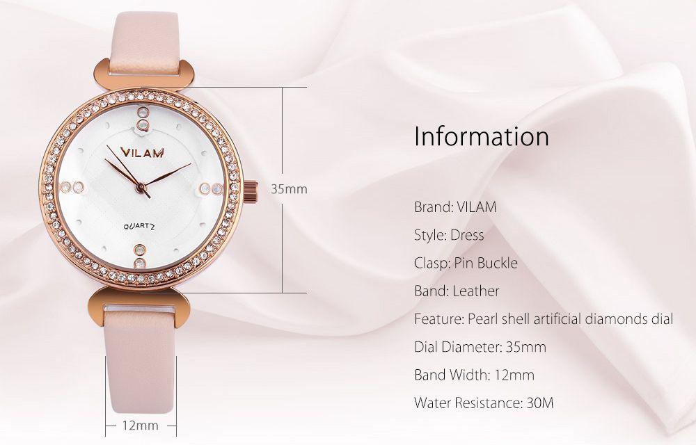 VILAM V1002L Women Quartz Watch Artificial Crystal Dial Solid Flower Mirror Wristwatch