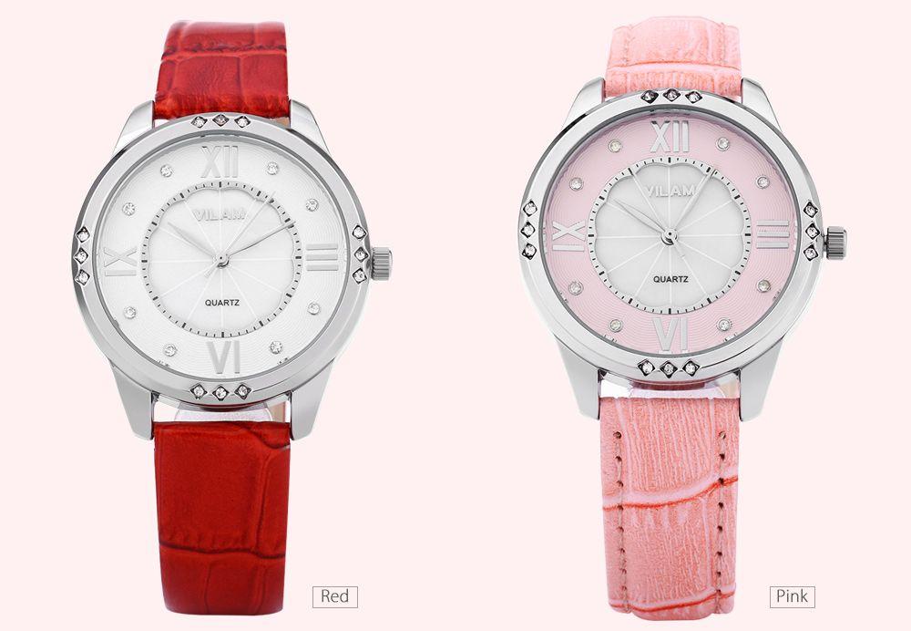 VILAM V1001L Women Quartz Watch Artificial Crystal Pearl Shell Dial Leather Strap Wristwatch