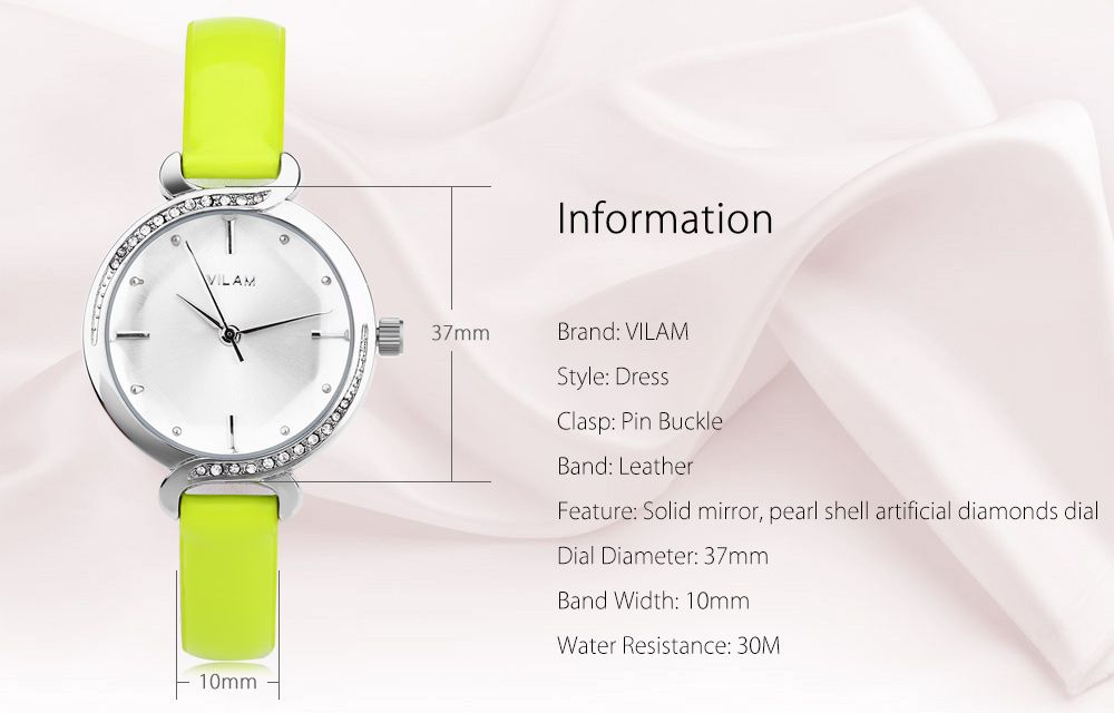 VILAM V1020L Women Quartz Watch Pearl Shell Artificial Diamond Dial Solid Mirror Wristwatch