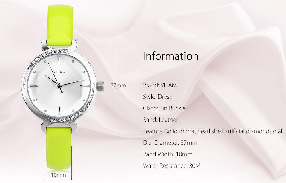 VILAM V1020L Women Quartz Watch Pearl Shell Artificial Diamond Dial Solid Mirror Wristwatch
