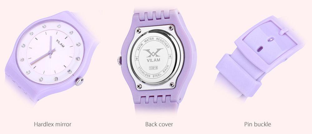 VILAM 13018 Women Quartz Watch Artificial Crystal Dial PU Strap Water Resistance Wristwatch