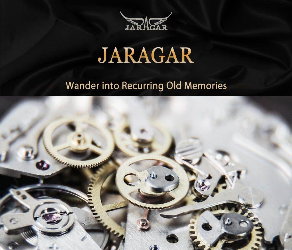 JARAGAR F120545 Male Automatic Mechanical Watch Date Day 24 Hours Display Genuine Leather Strap Wristwatch