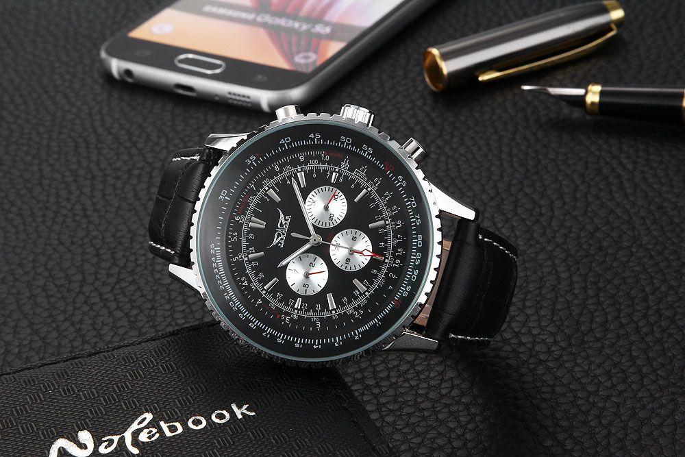 JARAGAR F120561 Male Automatic Mechanical Watch Date Day 24 Hour Display Genuine Leather Strap Wristwatch