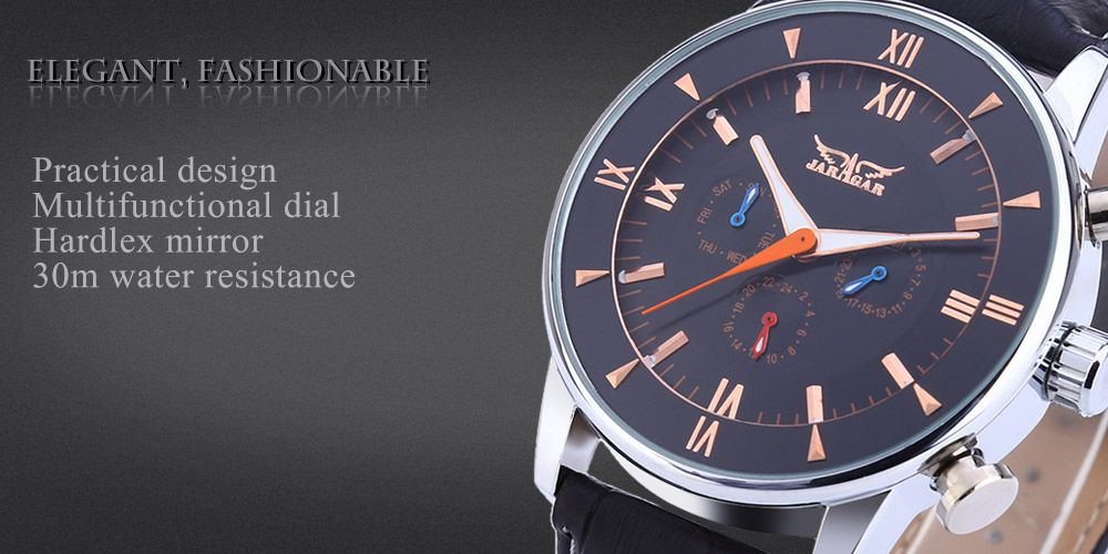 JARAGAR F120550 Men Auto Mechanical Watch Date Day 24 Hours Display Luminous Pointer Wristwatch