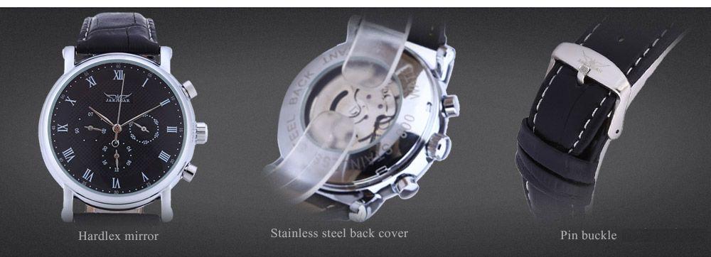 JARAGAR F1205306 Men Auto Mechanical Watch Calendar 24 hours Display Genuine Leather Wristwatch