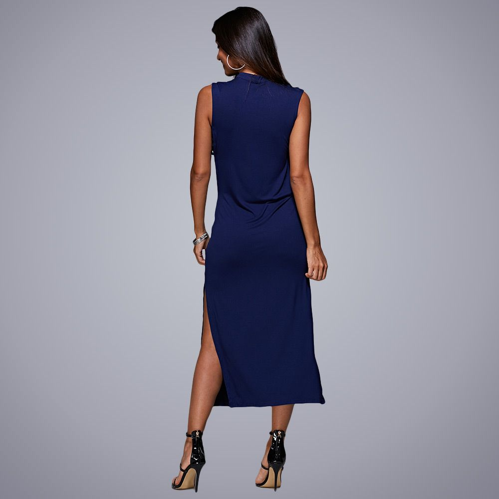 Sexy V-Neck Hollow Out Solid Color Women Midi Split Dress
