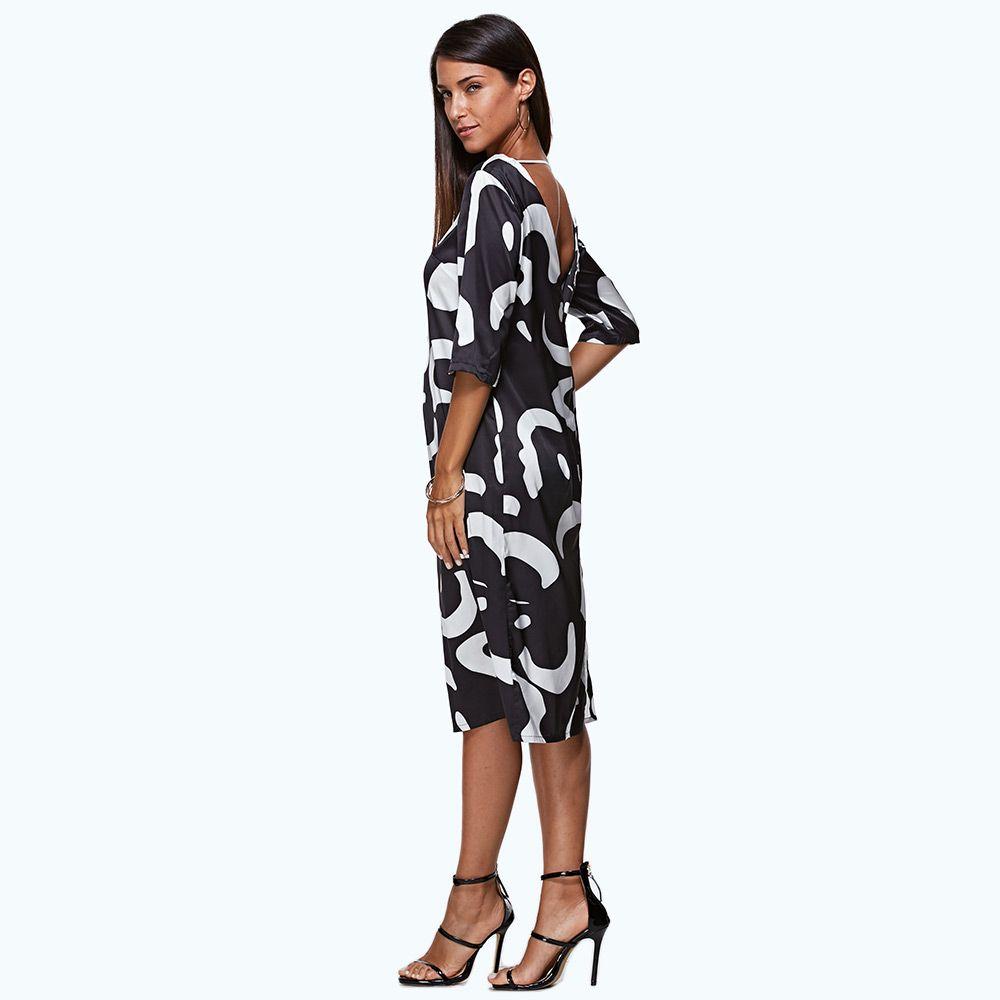 Trendy Round Collar Allover Print Backless Women Midi Dress