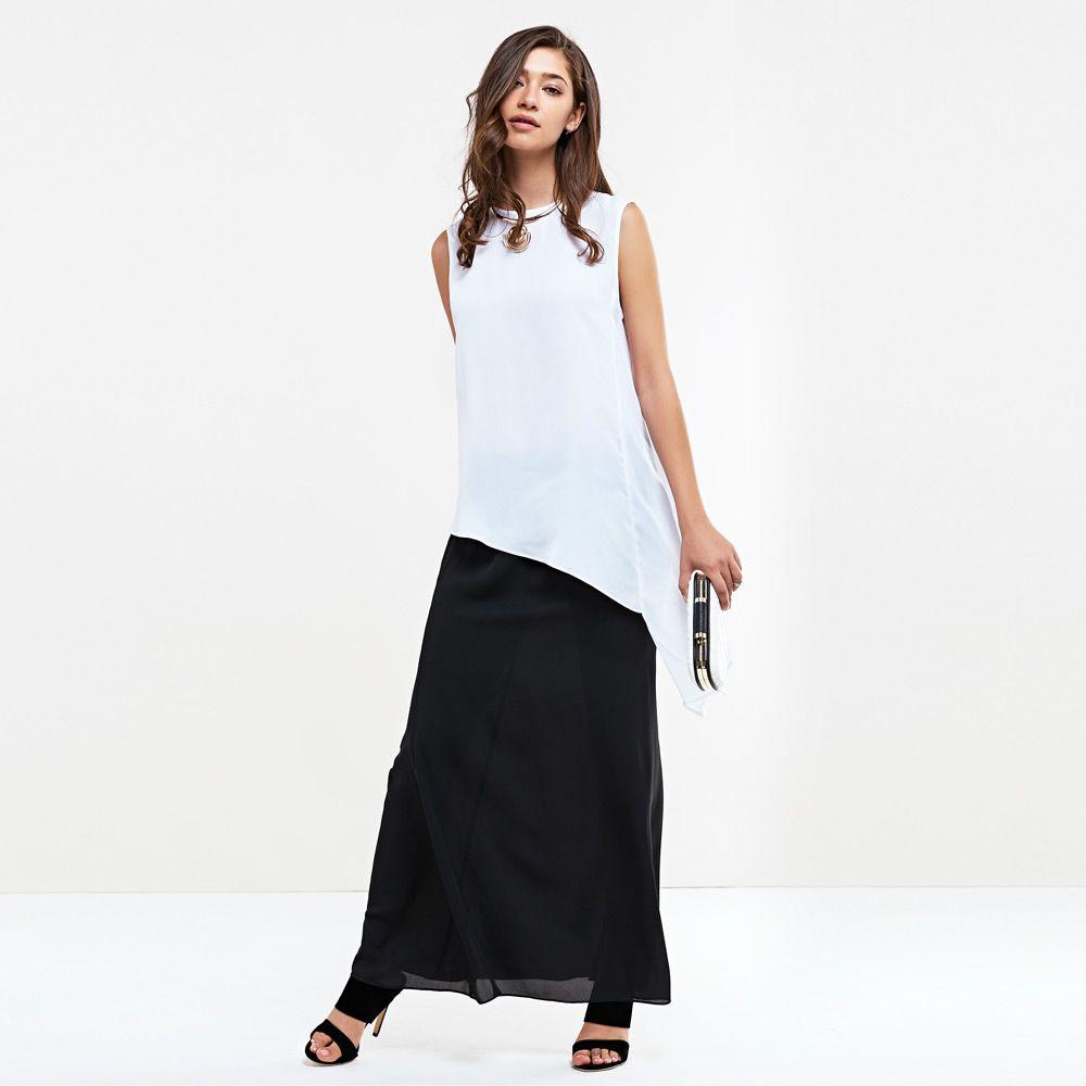 Chic Elastic Waist Solid Color Women Chiffon Skirt