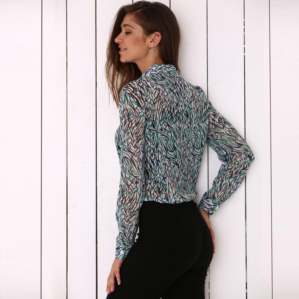Chic Turn Down Collar Allover Print Women Blouse