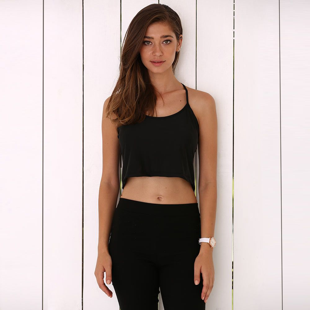 Brief Spaghetti Strap Pure Color Cut Out Women Crop Top