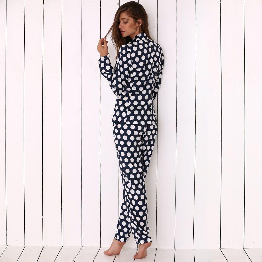 Turn Down Collar Allover Polka Dot Print Soft Women Pajama