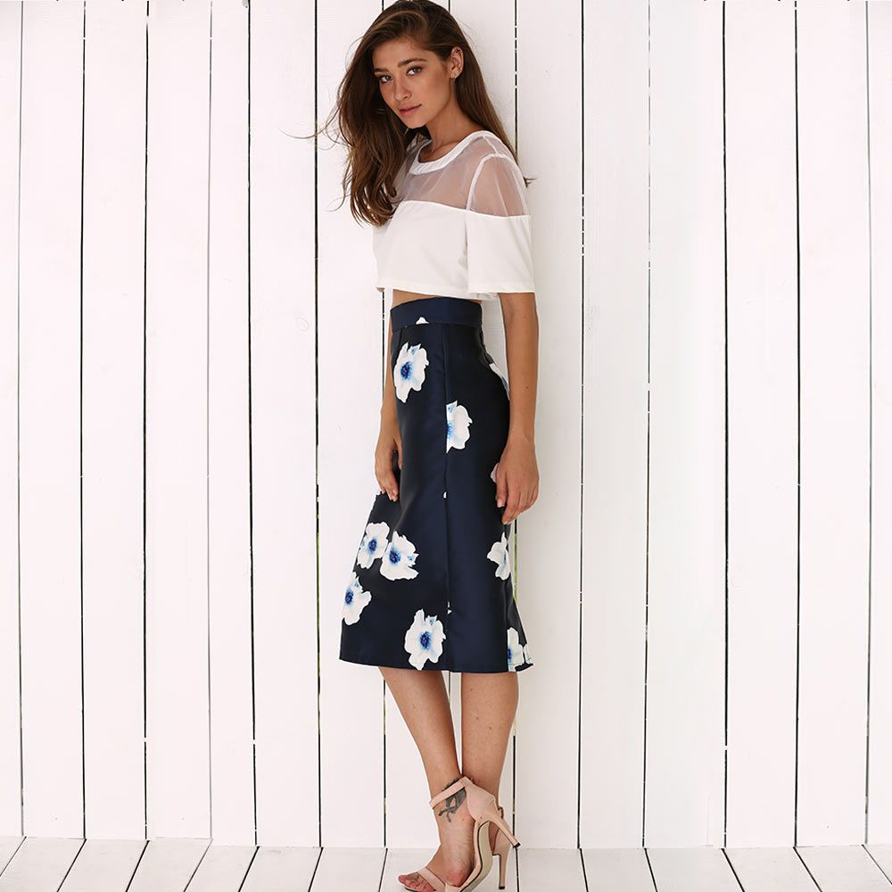 Old Classical Style High Waist Floral Women Bodycon Skirt