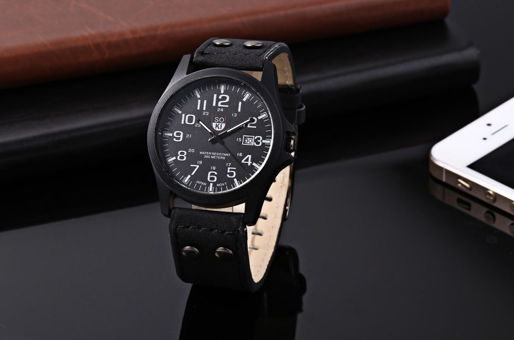 Unisex Quartz Watch Military Wristwatch Leather Band Calendar for Men Women
