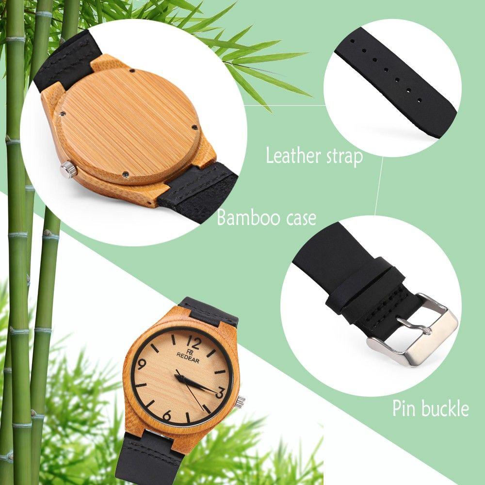REDEAR SJ 1448 - 8 Wooden Female Quartz Watch Leather Strap Wristwatch