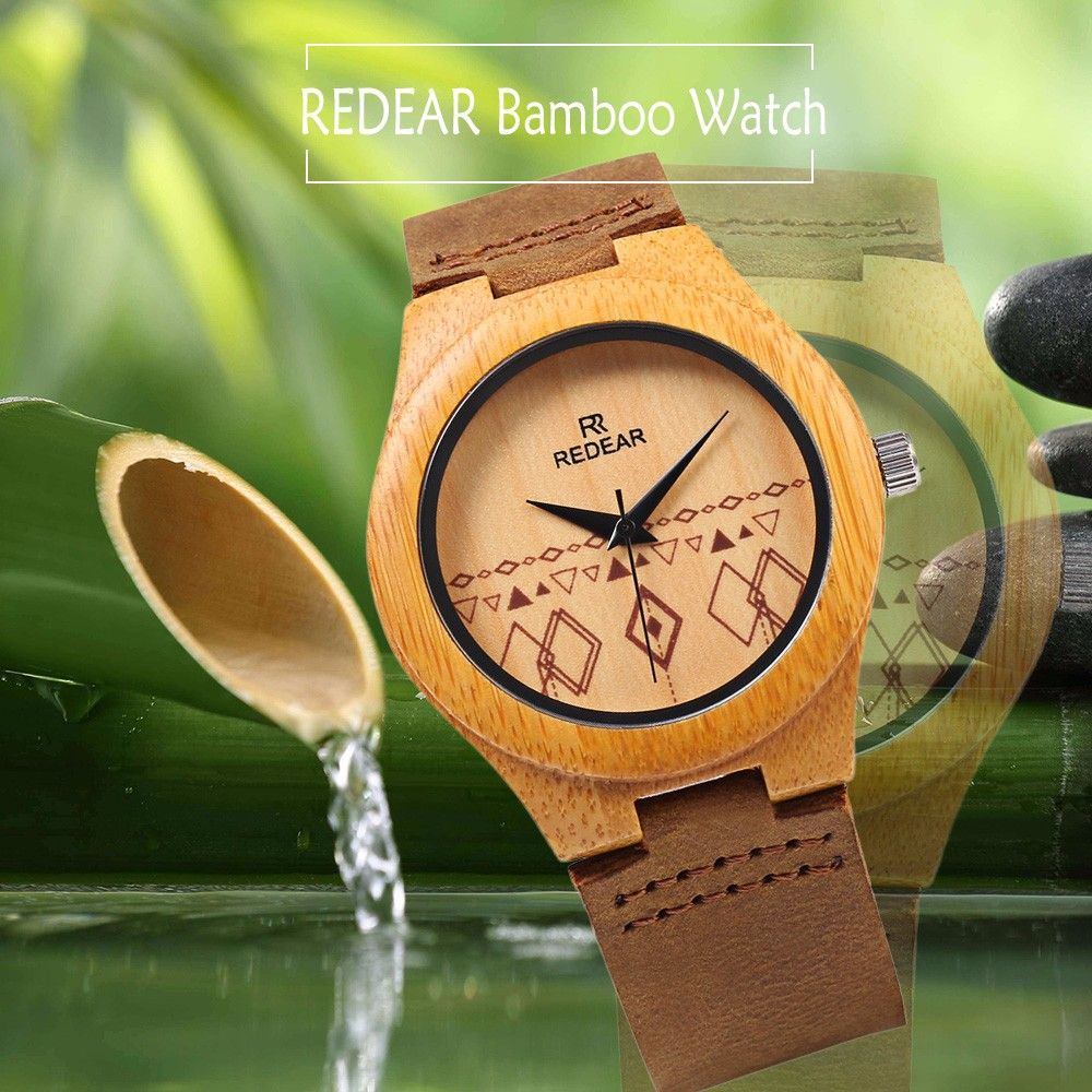 REDEAR Wooden Female Quartz Watch Unique Pattern Dial Leather Strap Wristwatch
