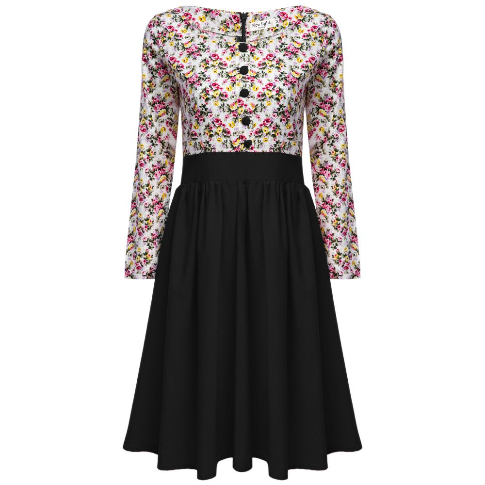 Old Classical Round Collar Printed Long Sleeve Waist Spliced Dress