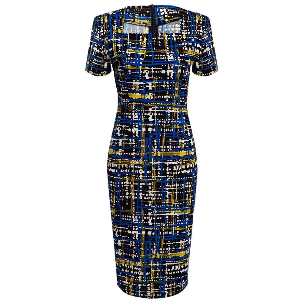 Elegant Square Neck Printed Slim Pencil Women Dress