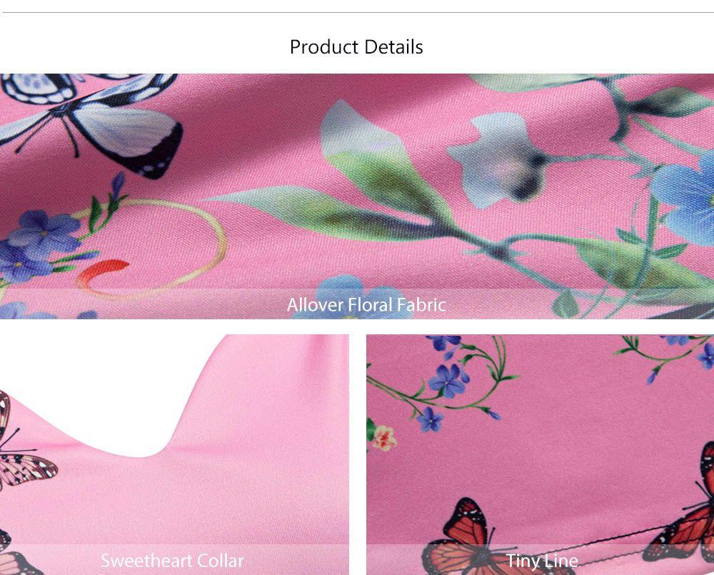 CAIDIENU Trendy Sweetheart Neck Allover Floral Print Women Bodycon Dress