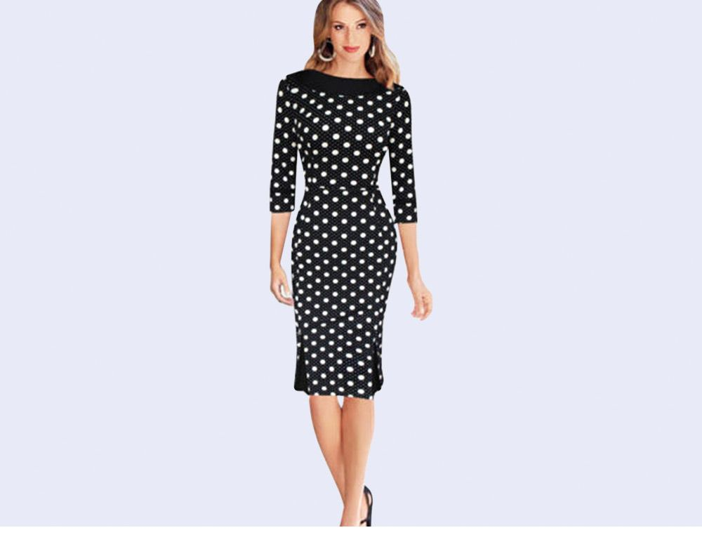 OL Style Round Collar Allover Print Sheath Women Dress
