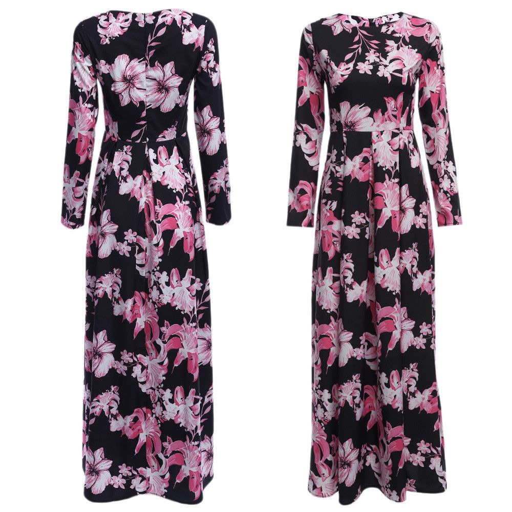 Old Classical  Round Collar Sash Waist A-line Women Floral Dress
