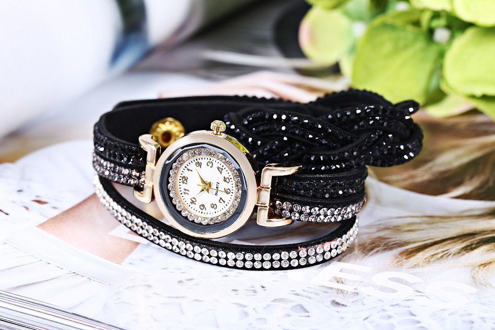 Women Bracelet Quartz Wrist Watch Rhinestone Decorated Leather Band