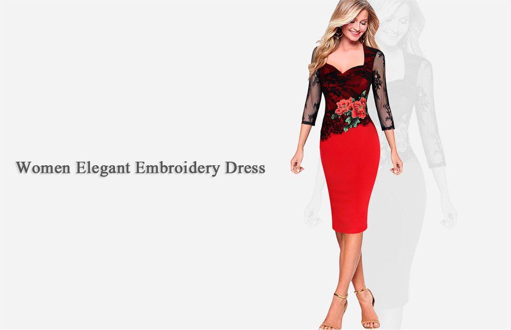 Elegant Sweetheart Neck Floral Embroidery Sheath Women Dress