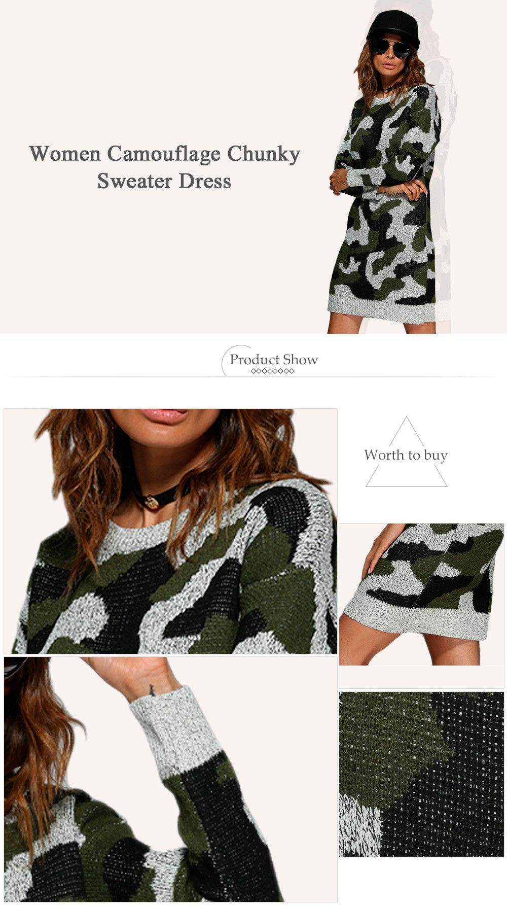 Street Style Round Collar Camouflage Women Sweater Dress