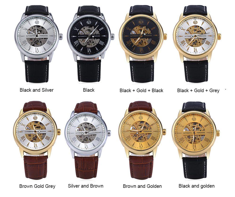 Forsining A694 Men Hollow Automatic Mechanical Watch Leather Strap
