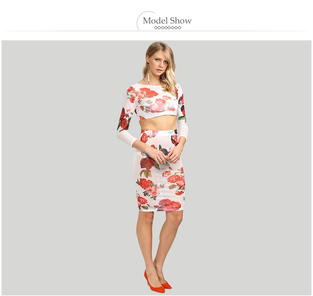 Fresh Style Round Collar Floral Women Two Piece Dress