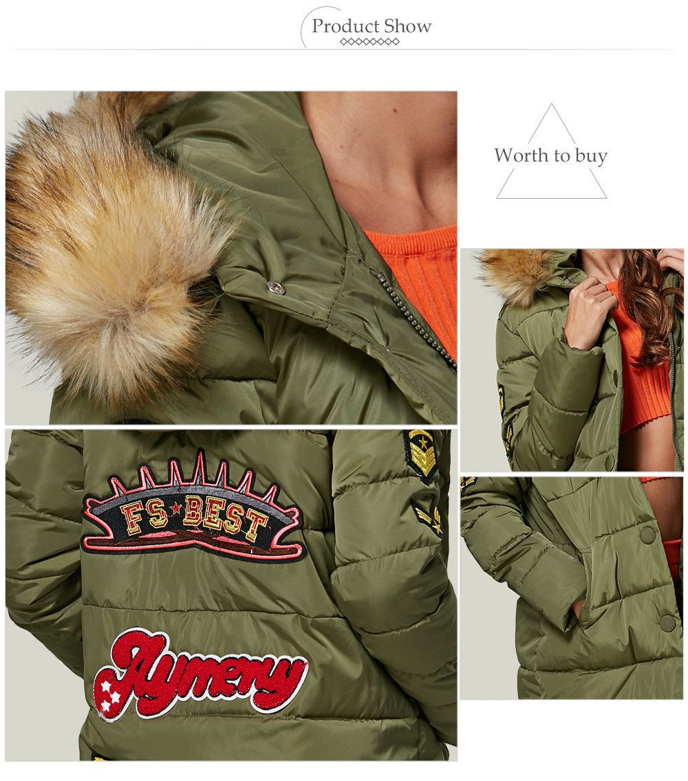 Chic Hooded Fur Collar Pure Color Zipper Women Down Coat
