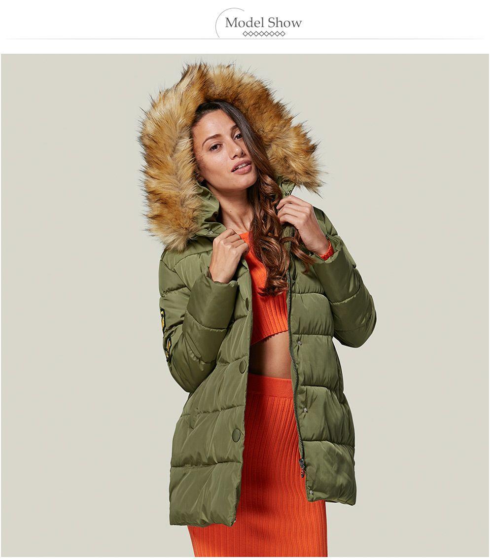 Chic Hooded Fur Collar Pure Color Zipper Women Down Coat