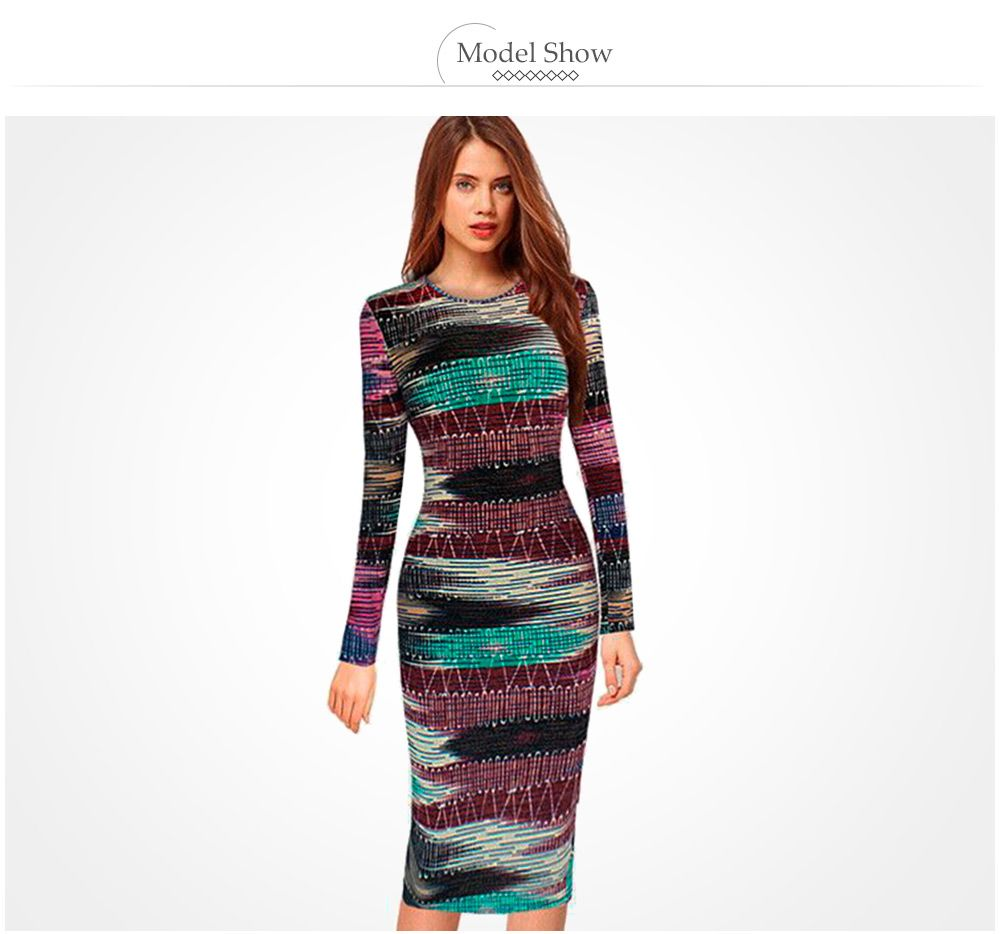 Long Sleeve Print Sheath Midi Dress