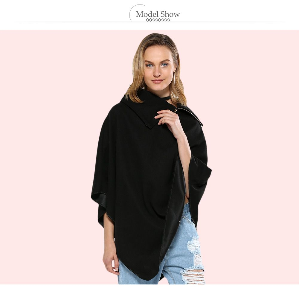 Simple Style Turn-down Collar Loose Women Cloak
