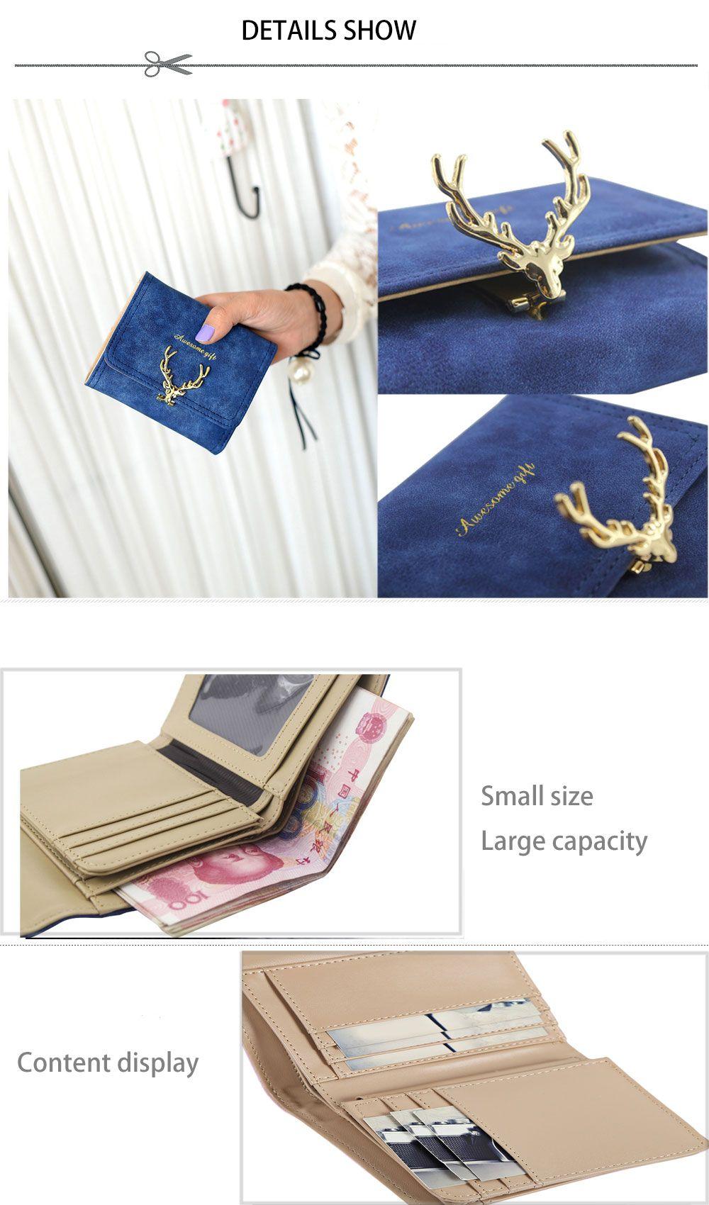 Women Short Section Christmas Elk Lock Three Fold Flip Frosted Wallet Purse